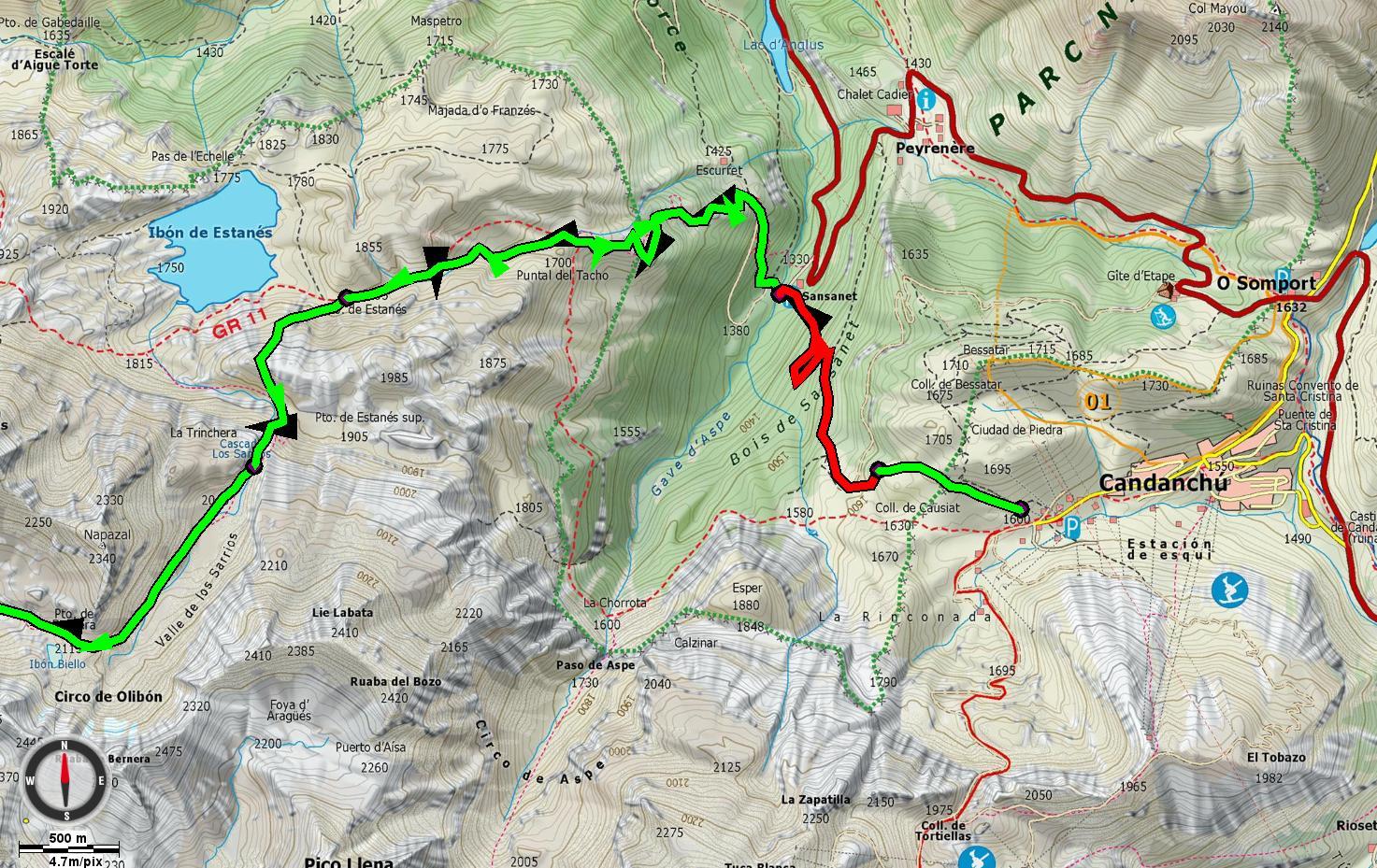 Mapa Candanchú - Valle de los Sarrios