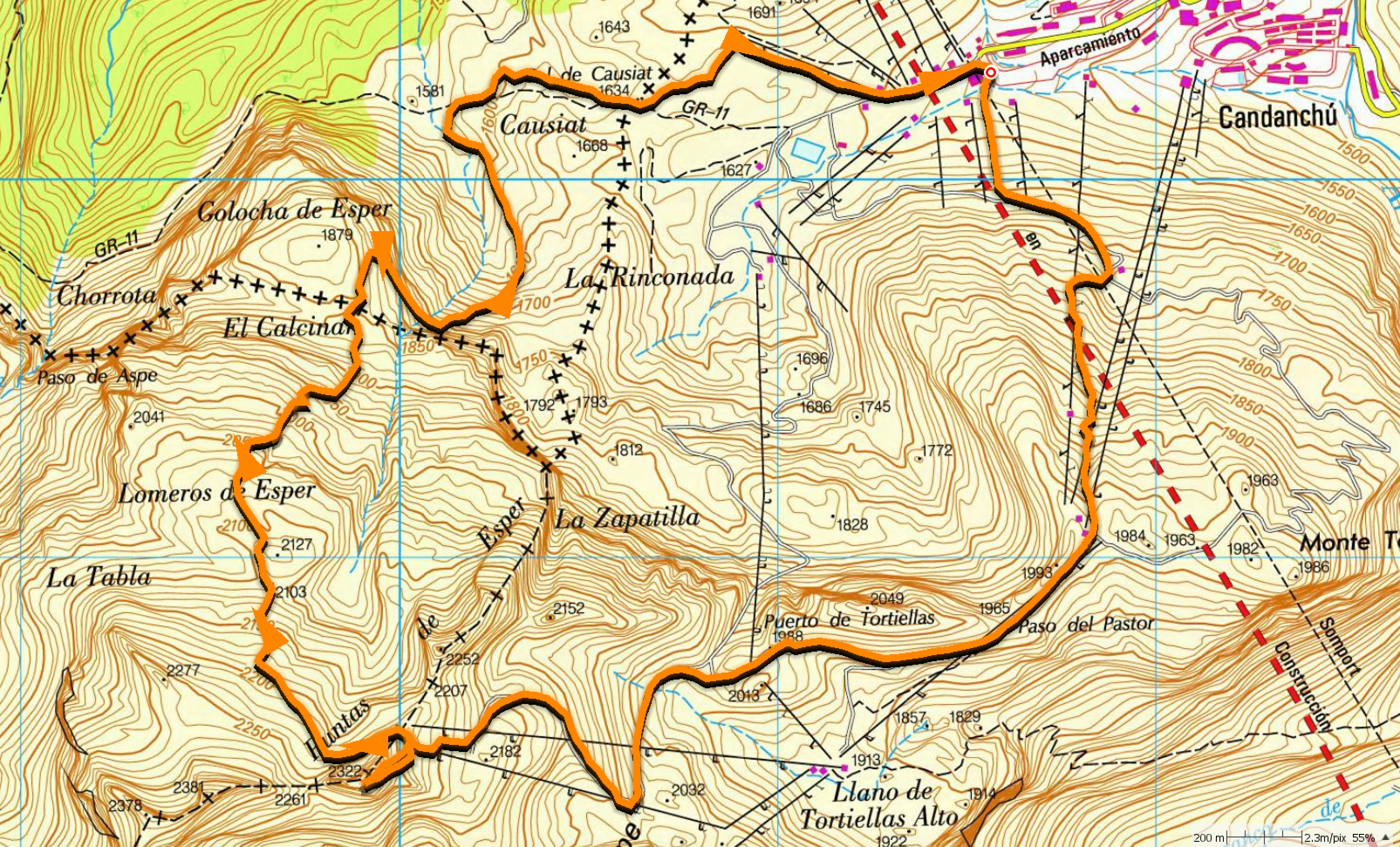 Mapa subida Tuca y bajada por Loma Verde