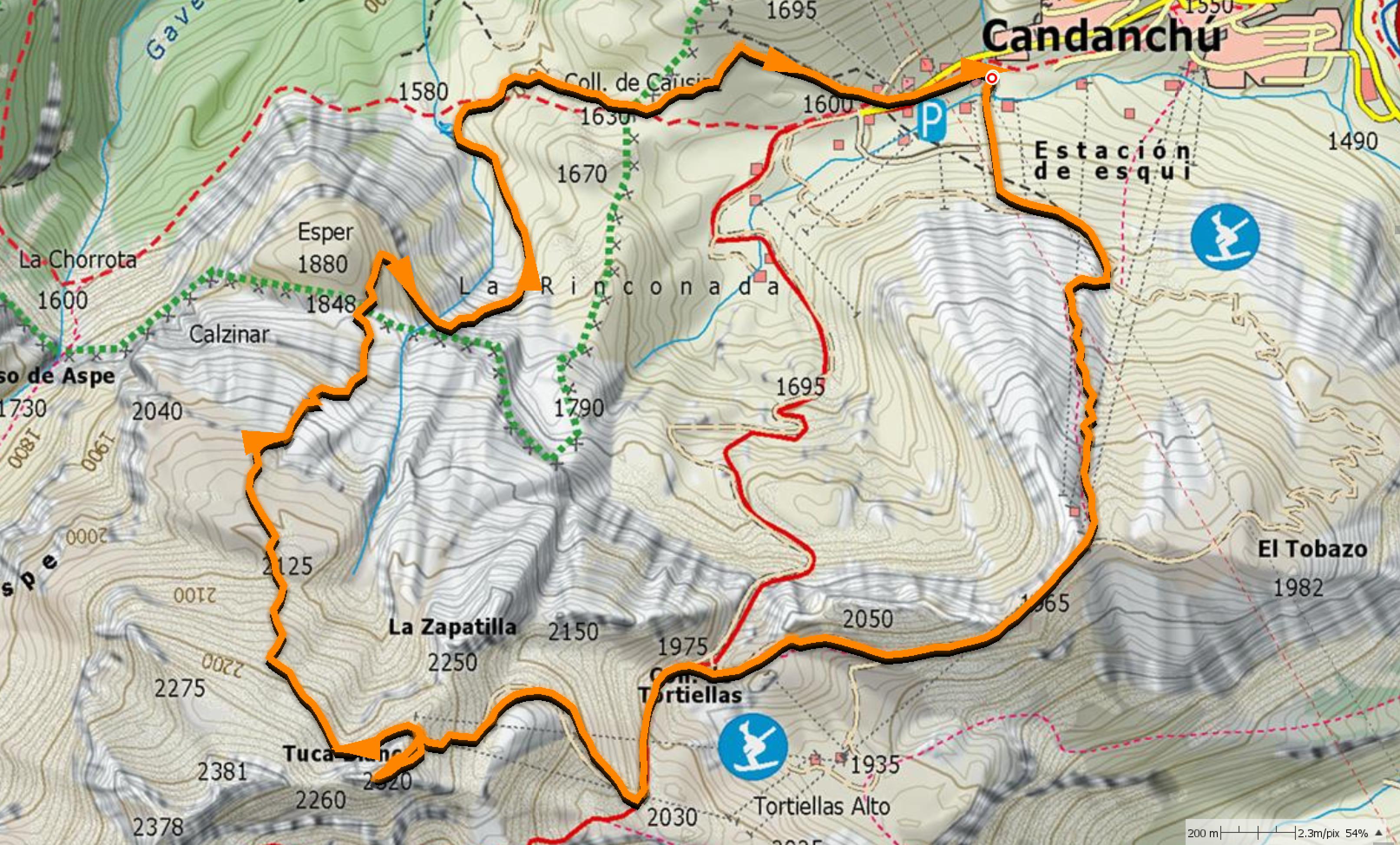 Mapa SUA: Subida a la Tuca y bajada por Loma Verde